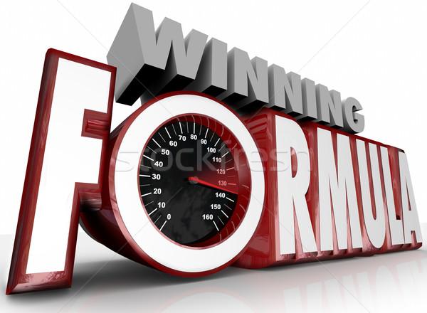 Ganar fórmula 3D palabras velocímetro mejor Foto stock © iqoncept