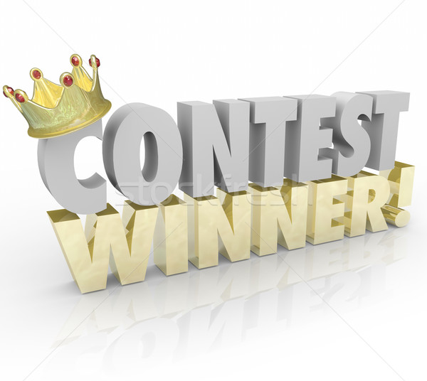 Contest Winner Crown Words Jackpot Lucky Prize Recipient Stock photo © iqoncept