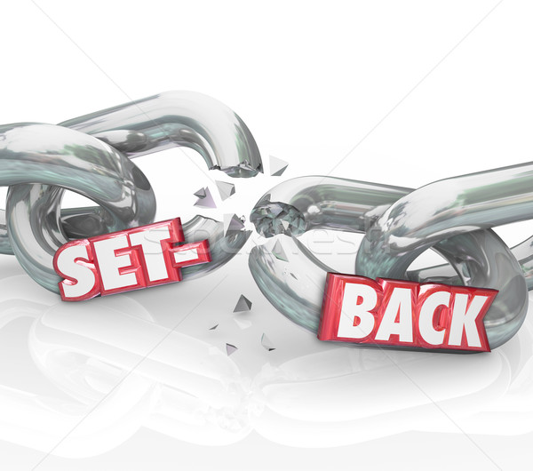 Setback Word Broken Chain Links Negative Outcome Obstacle Challe Stock photo © iqoncept