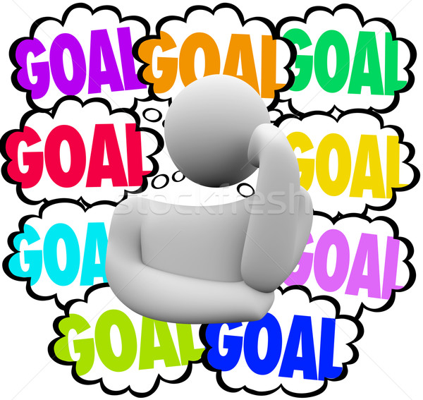 Goal Word Thinker Thought Clouds Planning Priority Mission Objec Stock photo © iqoncept