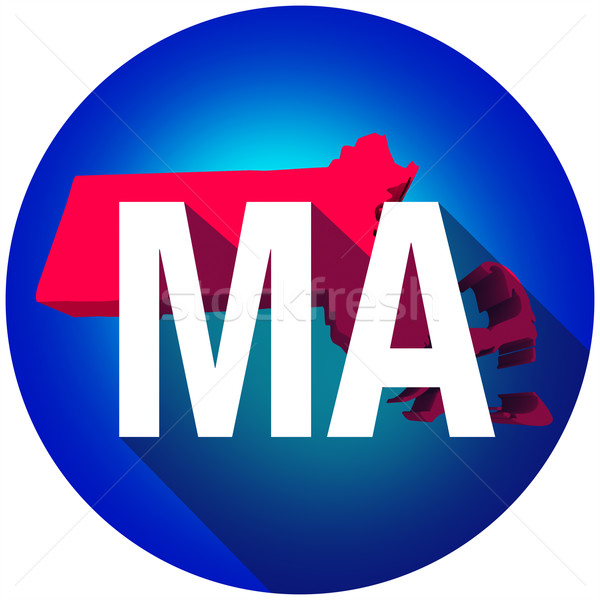 Massachusetts MA Letters Abbreviation Red 3d State Map Long Shad Stock photo © iqoncept