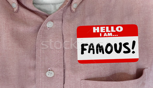 Famous Celebrity Hello Name Tag VIP Fame 3d Illustration Stock photo © iqoncept