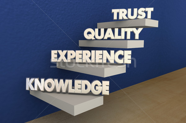 Knowledge Experience Quality Trust Reputation Steps 3d Illustrat Stock photo © iqoncept