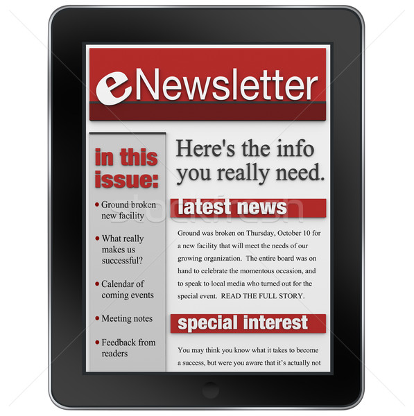 Stock photo: eNewsletter on Tablet Computer News Alert