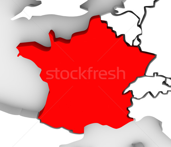 France Country 3d Abstract Illustrated Map Europe Stock photo © iqoncept