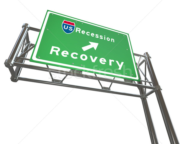 Freeway Sign - Recession Next Exit Recovery Stock photo © iqoncept