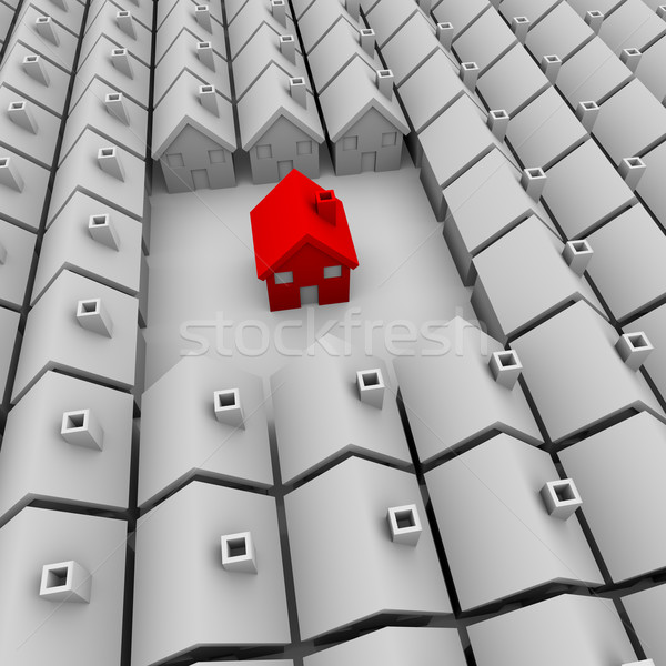 Stock photo: One Red House Stands Alone