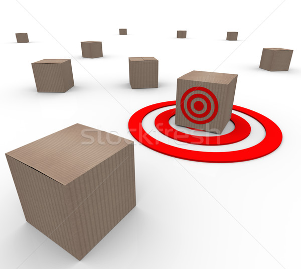 One Targeted Cardboard Box Inventory Warehouse Stock photo © iqoncept