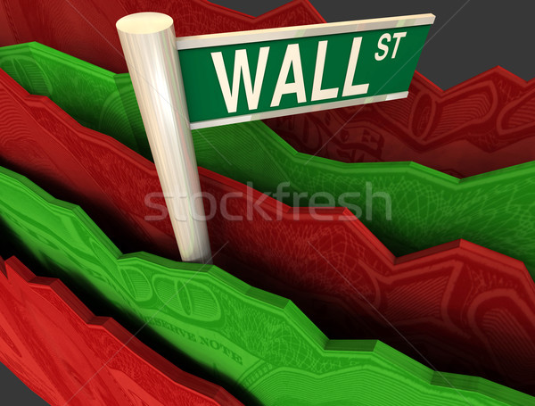 Wall Street Sign in Rough Seas Stock photo © iqoncept
