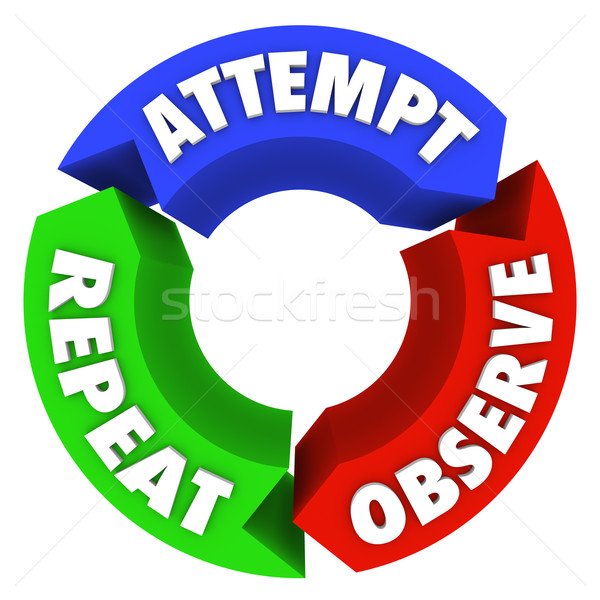 Attempt Observe Repeat Success Steps Diagram Advice Stock photo © iqoncept