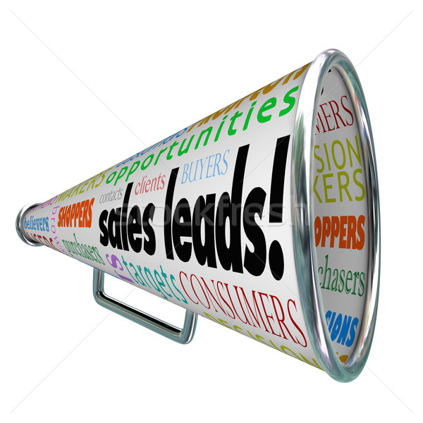 Sales Leads Megaphone Bullhorn Words New Prospects Customers Stock photo © iqoncept