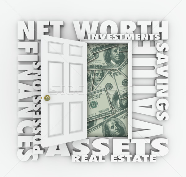 Net Worth Financial Value Total Wealth Assets Debts Open Door Wo Stock photo © iqoncept
