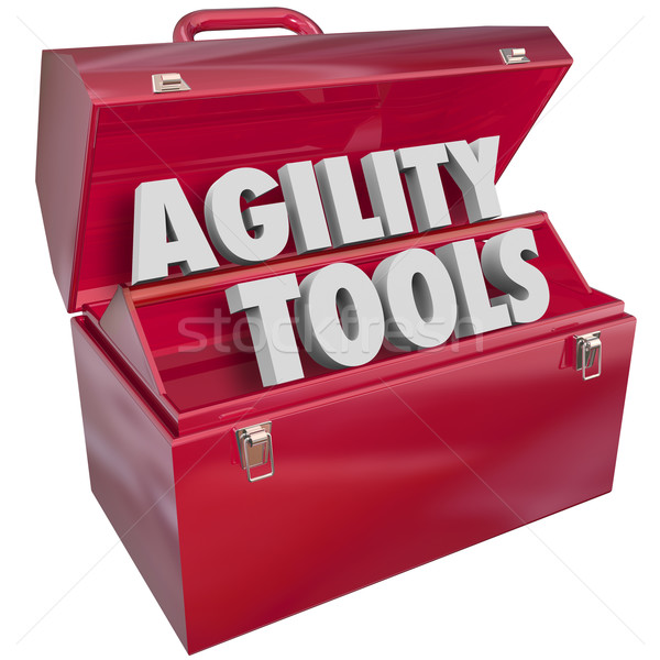 Stock photo: Agility Tools Words in Toolbox Change Adapt Ability