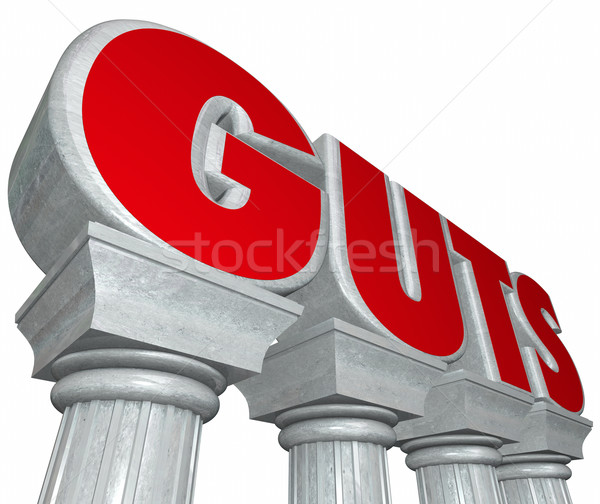 Guts 3d Word in Marble Stone Letters on Columns Strength Courage Stock photo © iqoncept