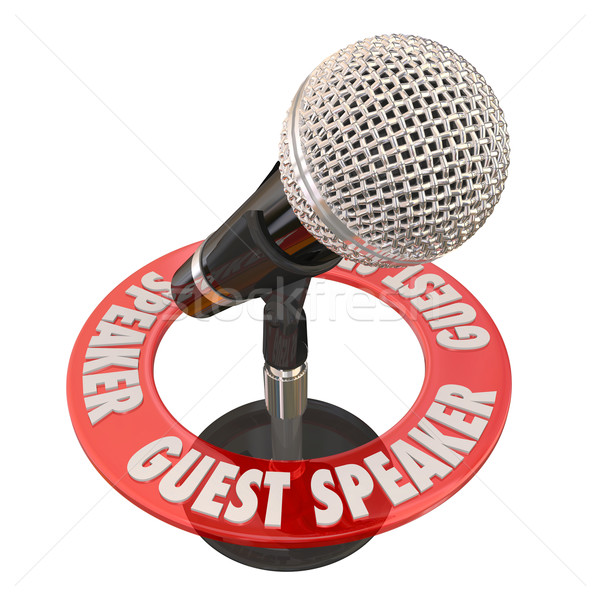 Guest Speaker Microphone Presentation Discussion Panelist Stock photo © iqoncept
