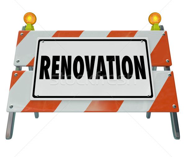 Renovate Road Construction Sign Home Improvement Building Projec Stock photo © iqoncept