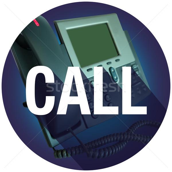 Call Contact Us Phone Long Shadow Seal Circle Stock photo © iqoncept