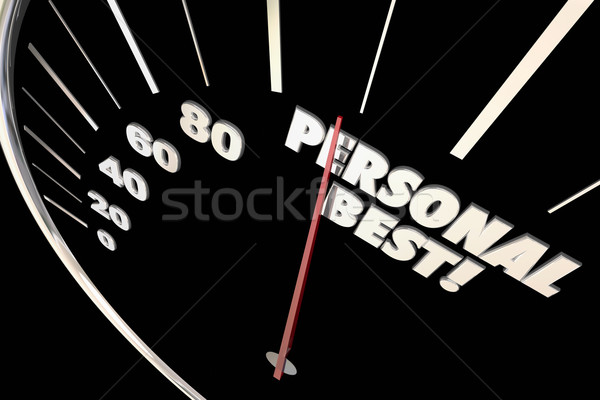 Personal Best New Record Time Speedometer Words 3d Illustration Stock photo © iqoncept