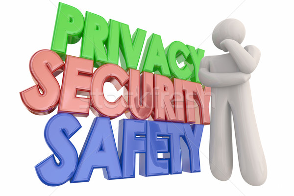 Privacy Security Safety Danger Thinking Person Words 3d Illustra Stock photo © iqoncept
