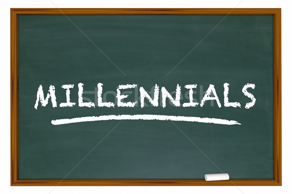 Millennials Generation Y Demo Group Chalk Board Word 3d Illustra Stock photo © iqoncept