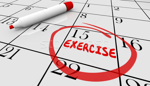 Exercise Fitness Schedule Workout Class Day Calendar 3d Illustra Stock photo © iqoncept