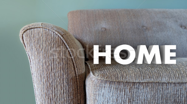 Home Word Couch Family Living Comfort 3d Illustration Stock photo © iqoncept