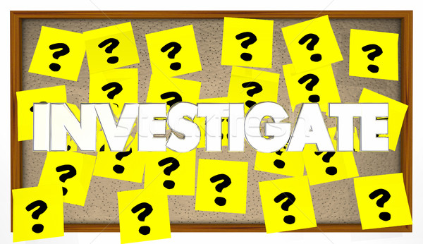 Investigate Search Clues Solve Mystery 3d Illustration Stock photo © iqoncept