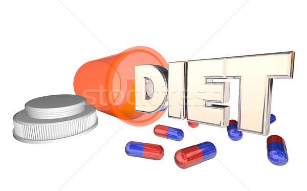 Diet Supplement Pills Bottle Lose Weight Help 3d Illustration Stock photo © iqoncept