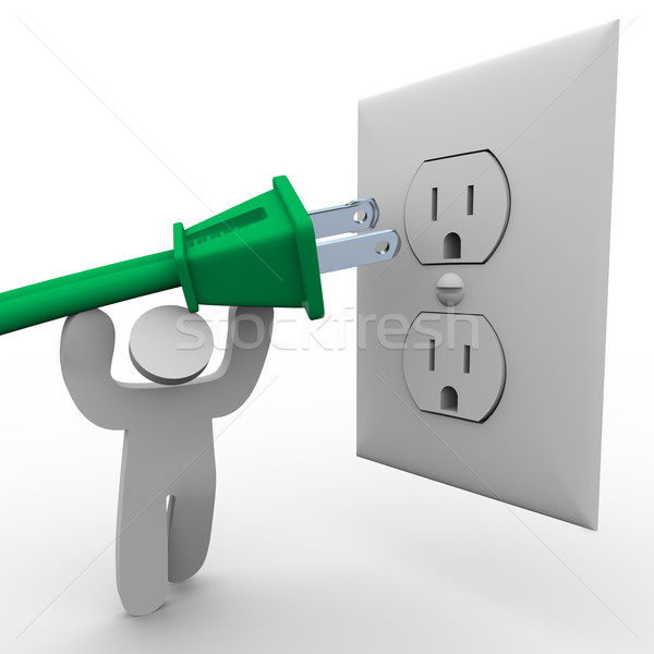 Stockfoto: Persoon · elektrische · groene · plug