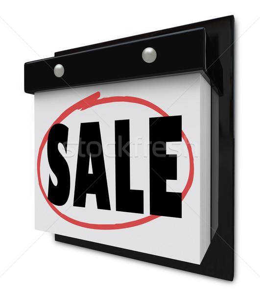 Sale Reminder Circled on Wall Calendar Save Money Stock photo © iqoncept