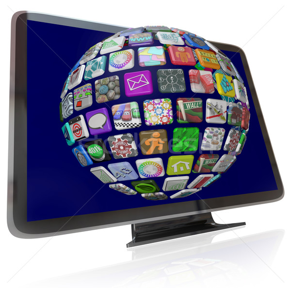 Streaming Content Icons on HDTV Television Screens Stock photo © iqoncept