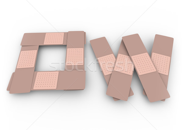 Stock photo: Ow Word Adhesive Bandages Pain Treatment