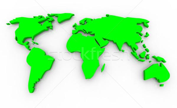 Foto stock: Global · mapa · verde · branco · 3d · render · globo
