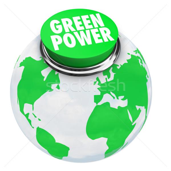 Foto stock: Verde · poder · terra · botão · palavras · negócio
