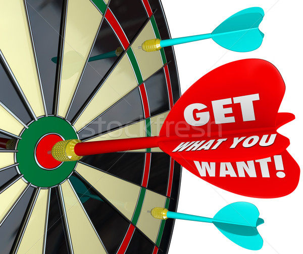 Get What You Want Words Dart Board Target Winner Stock photo © iqoncept