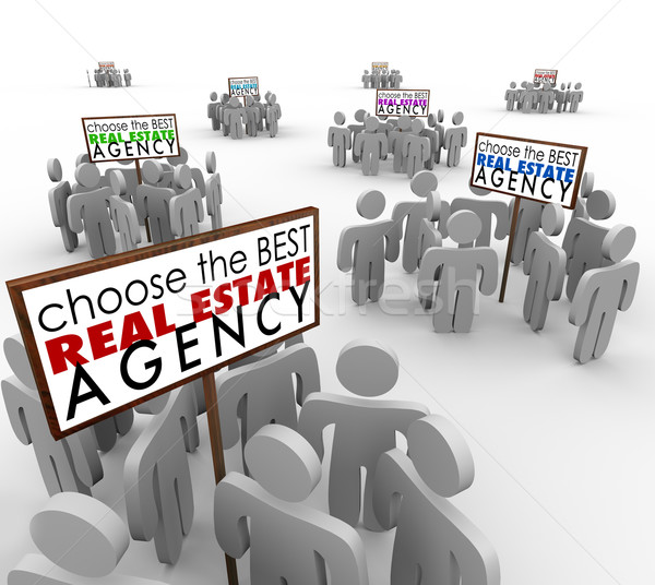 Choose Best Real Estate Agency People Around Signs Agents Stock photo © iqoncept
