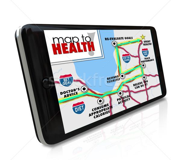 Map to Health Navigation Tool Resource App Smart Phone Stock photo © iqoncept