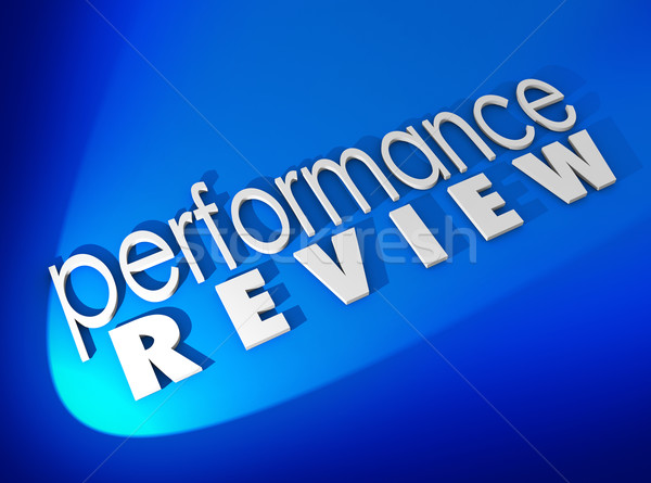 Performance Review  White 3d Words Blue Background Stock photo © iqoncept