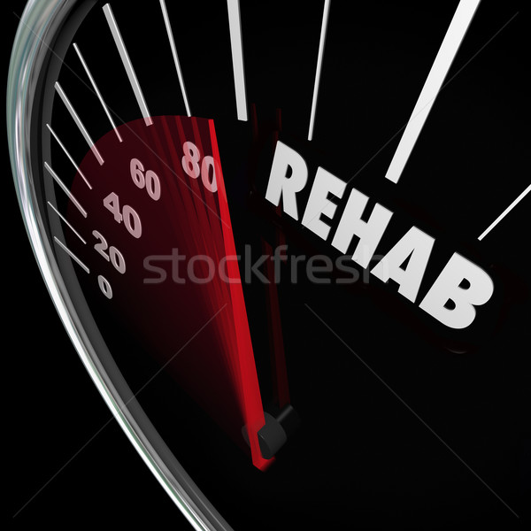 Rehab Word Speedometer Measure Cure Therapy Addiction Stock photo © iqoncept