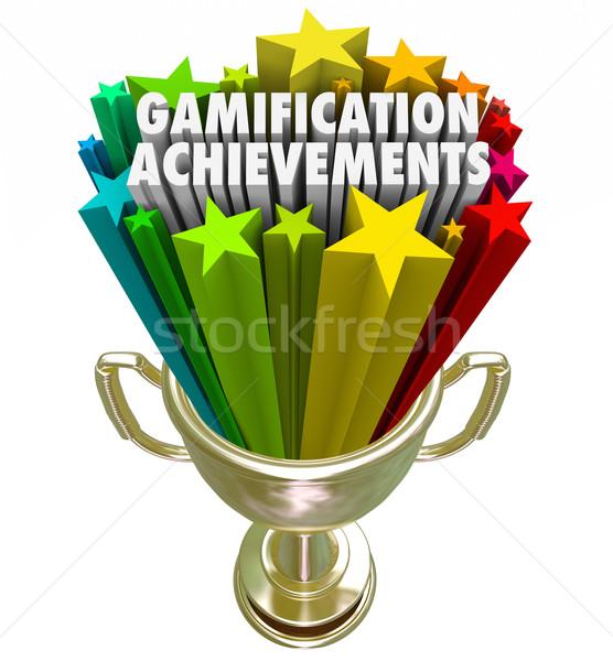 Raggiungimento trofeo gioco concorrenza premiare parole Foto d'archivio © iqoncept