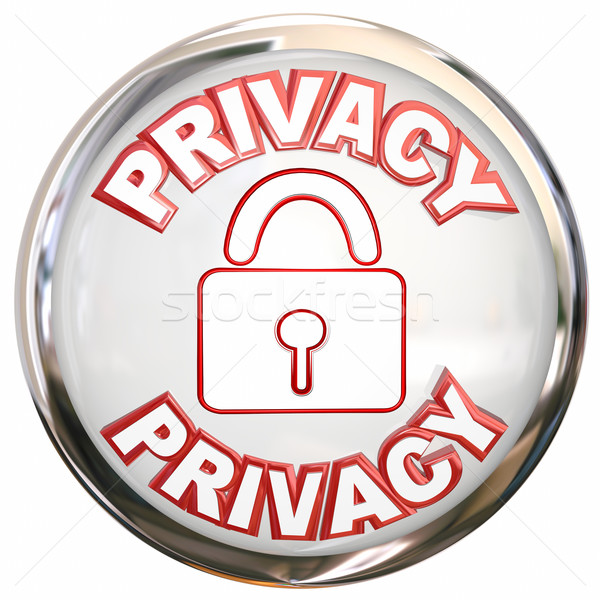 Privacy Round Icon Personal Information Lock Safety Stock photo © iqoncept