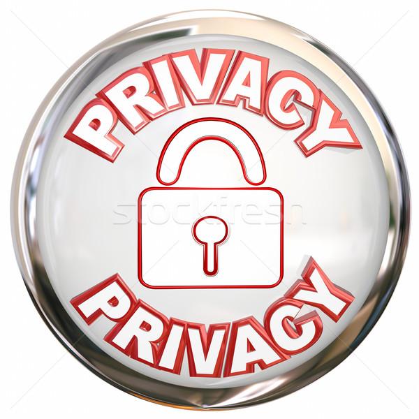 Magánélet ikon személyes információ zár biztonság Stock fotó © iqoncept