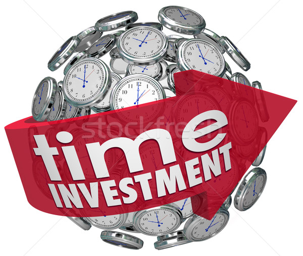 Time Investment Words Arrow Clocks Sphere Manage Resources Stock photo © iqoncept