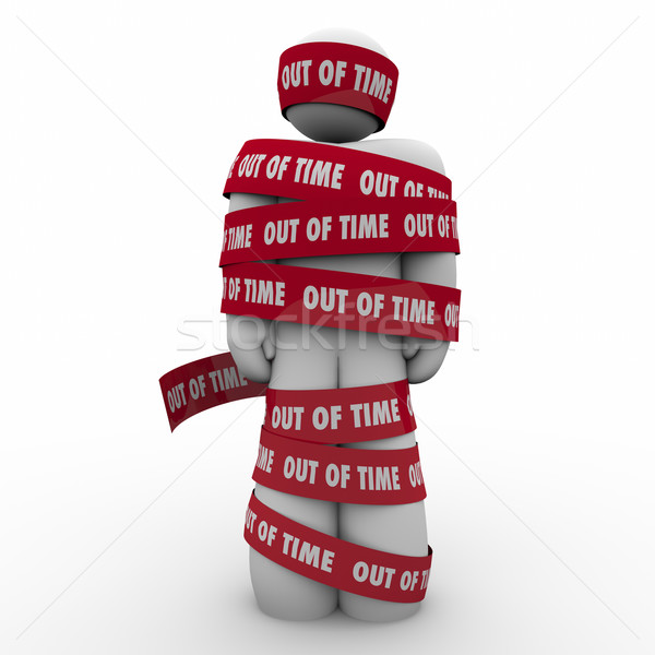 Out of Time Man Wraped Tape Past Deadline Hostage Prisoner Stock photo © iqoncept