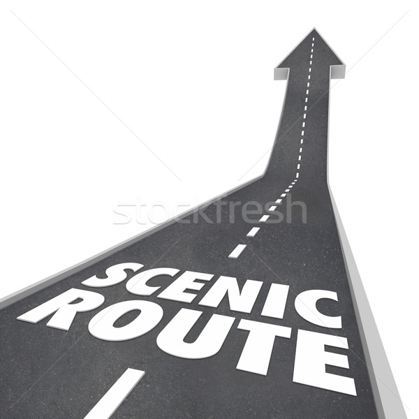 Scenic Route Road Words Enjoy Scenery Stock photo © iqoncept