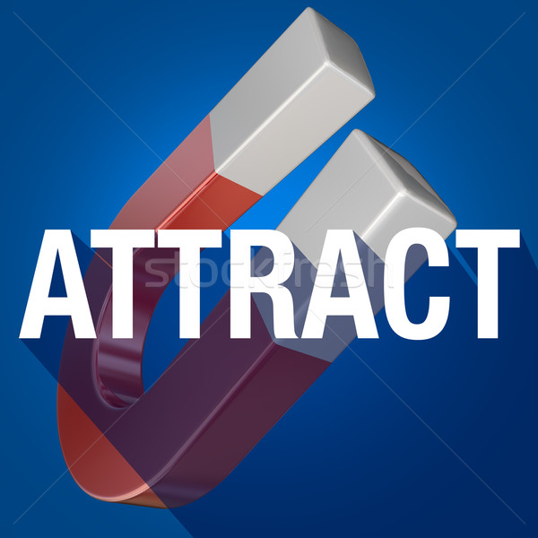 Attract Word Long Shadow Magnet Drawing Attention Customers Stock photo © iqoncept