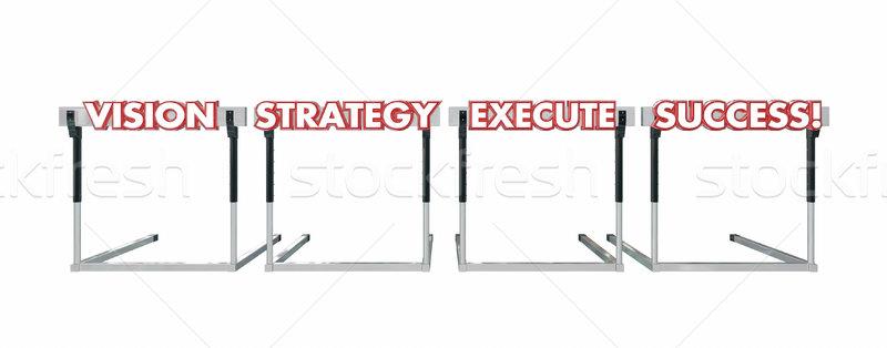 Előrelátás stratégia siker ugrik akadályok szavak Stock fotó © iqoncept