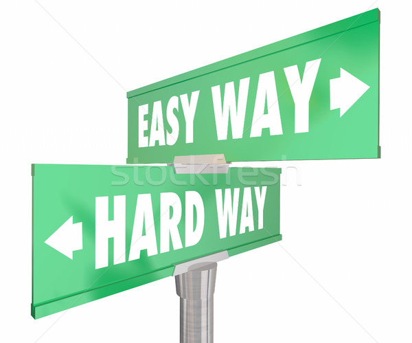 Easy Vs Hard Way Road Signs Two 2 Way 3d Illustration Stock photo © iqoncept