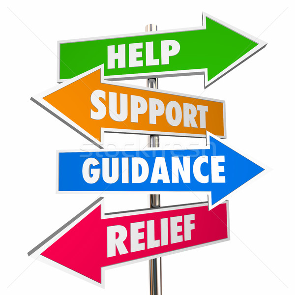 Help Support Guidance Relief Assistance Words Signs 3d Illustrat Stock photo © iqoncept