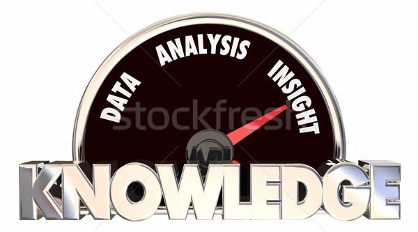 Kennis gegevens analyse inzicht snelheidsmeter woorden Stockfoto © iqoncept
